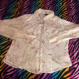 Ivory Floral Casual Button Collar Blouse Small